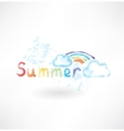 Summer rainbow grunge icon vector image