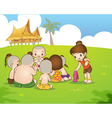 Traditional Thai boyand girl are sitting playing vector image vector image