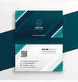 turquoise geometric business card design vector image vector image