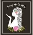 white silhouette woman kiss flowers decoration vector image