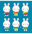 Funny bunnies on a white background characters vector image