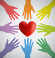 Many Colorful Hands Surrounding A Red Heart vector image