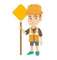 little caucasian builder boy holding road sign vector image