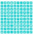 100 leaf icons set grunge blue vector image vector image