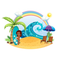 a tan girl at the beach with surfing board vector image