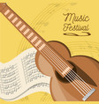 acoustic guitar with music sheet vector image vector image