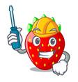 automotive fresh strawberry in a bowl cartoon vector image vector image