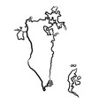 bahrain map from contour black brush lines vector image vector image