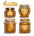 banana jam in glass jars vector image vector image