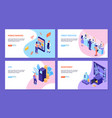 bank services isometric horizontal banners vector image vector image