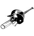 Bbaseball helmet ball and bat vector image