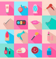 beauty salon set of cartoon icons colorful vector image vector image