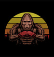 bigfoot wearing boxing gloves sunset retro vector image vector image