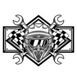 black and white racing team logo vector image vector image