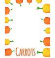 Border design with fresh carrots vector image vector image