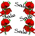bouquets of red poppies and inscription sale vector image vector image