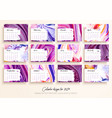 calendar design for 2019 set of 12 calendar pages vector image