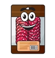 Cartoon meat chopped sausage in package vector image