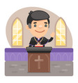 cartoon priest at pulpit vector image