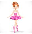 Cute brunette ballerina girl in pink dress vector image vector image