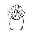 doodle french fries in a paper pack vector image vector image