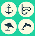 hot icons set collection of parasol armature vector image