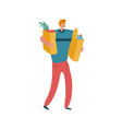 man shopper with shopping bag modern male vector image vector image