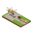 military base isometric composition vector image vector image