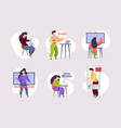 online education remote e-learning students vector image