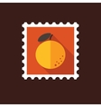 Orange flat stamp with long shadow vector image vector image