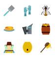 organic raw honey icons set flat style vector image