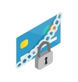 Padlock and credit card icon isometric 3d style vector image