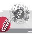 Paper and hand drawn clip emblem with icons vector image vector image