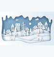 paper art style reindeer in village in vector image