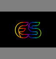 rainbow color colored colorful alphabet letter es vector image vector image