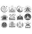 ramadan kareem and eid mubarak muslim icons vector image vector image
