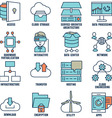 Set of flat linear cloud computing icons - part 2 vector image vector image