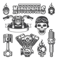 Set of vintage monochrome motorcycle elements vector image