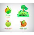 set organic bio eco and nature food vector image vector image