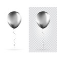 set silver balloons on transparent white vector image vector image