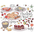 set with traditional christmas food isolated on vector image vector image