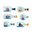 ship in bottles decorative marine souvenir vector image vector image