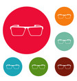 square lens icons circle set vector image vector image