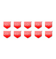 sticker red banner collection off with share vector image vector image