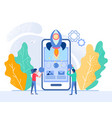 successful mobile app startup tiny people are vector image vector image