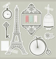 vintage objects silhouettes paper cut vector image