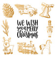 we wish you a merry christmas lettering with hand vector image vector image