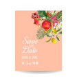 wedding invitation with tropical fruits and palm vector image vector image