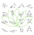 yoga poses icon set in thin line style vector image