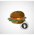 Sketch juicy and tasty burger icon vector image